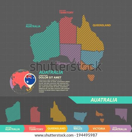 Australia Map Infographic - stock vector