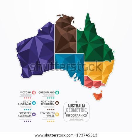 Australia Map Infographic Template geometric concept banner. vector illustration - stock vector