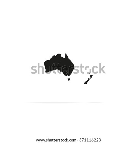 Australia map. New Zealand icon. - stock vector