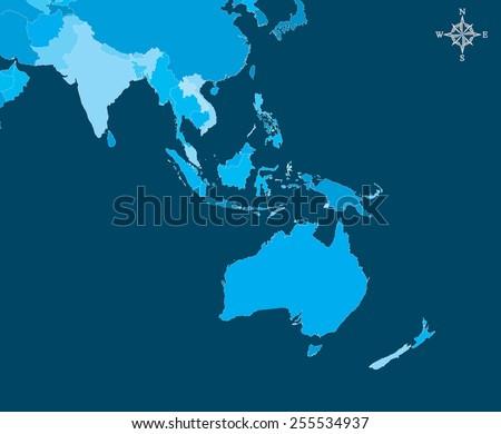 Australia Map - Vector - stock vector