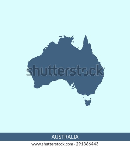 Australia map vector, Australia map outlines in a contrasted blue background for brochure and web-page templates and science & publication uses - stock vector