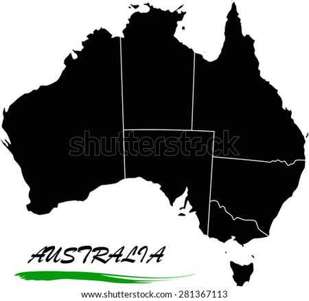Australia map vector in black and white background, Australia map outlines in a new design - stock vector