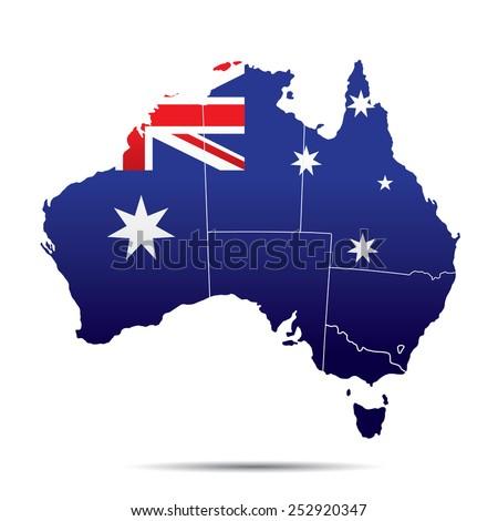 Australia Map with Flag - stock vector