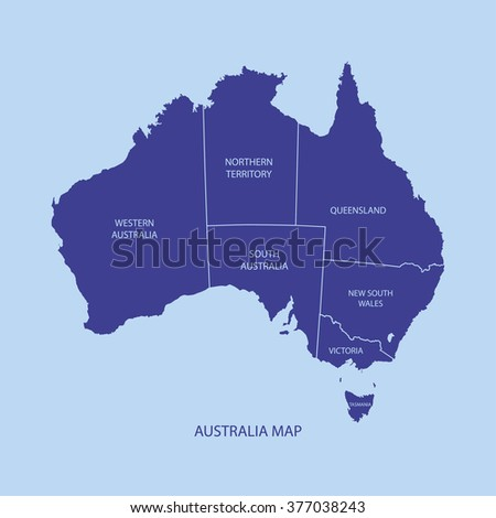 AUSTRALIA MAP WITH REGIONS illustration vector - stock vector