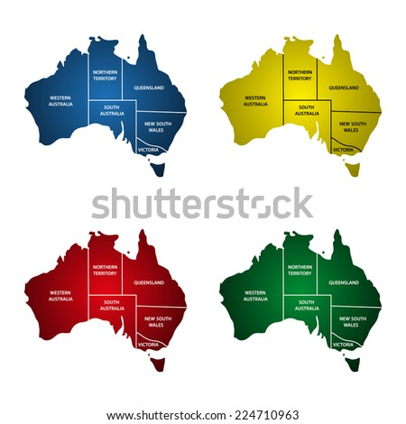 Australia Maps - stock vector