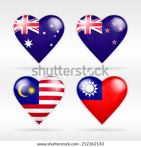 Australia, New Zealand, Malaysia and Taiwan heart flag set of national states as collection of isolated vector state flags icon elements on white - stock vector