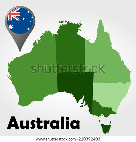 Australia political map with green shades and map pointer. - stock vector