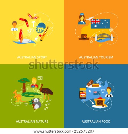Australia travel icons flat set with australian sport tourism nature food isolated vector illustration - stock vector