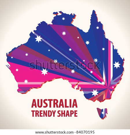 Australia trendy shape - stock vector
