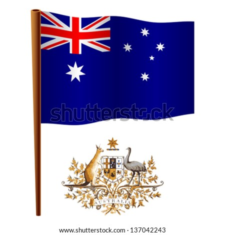 australia wavy flag and coat of arms against white background, vector art illustration, image contains transparency - stock vector