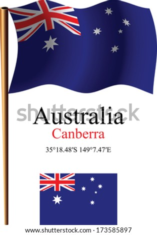 australia wavy flag and coordinates against white background, vector art illustration, image contains transparency - stock vector