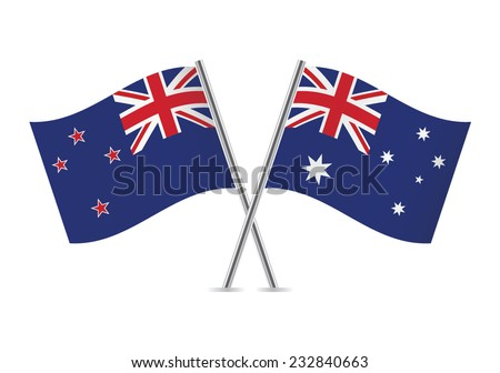 Australian and New Zealand flags. Vector illustration. - stock vector