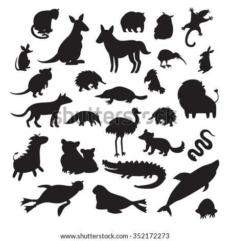 Australian animals silhouettes, isolated on white background vector illustration. Big vector set. Preschool, baby, continents, drawn, educations - stock vector