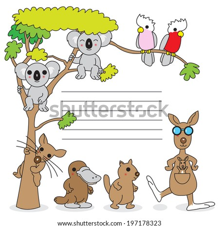 Australian creatures paper note illustration set - stock vector
