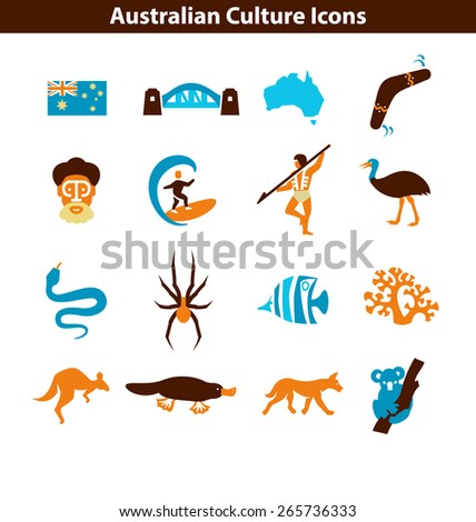 Australian Culture Icon Set. Colorful National Signs and Landmarks - stock vector