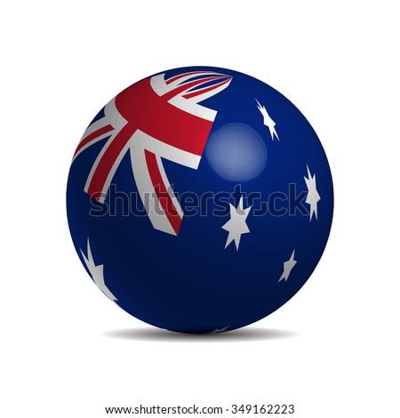 Australian flag on a 3d ball, vector illustration - stock vector