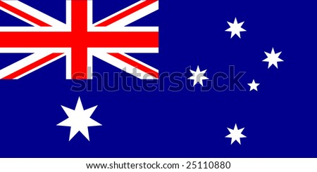 Australian flag with exact dimensions and colors - stock vector