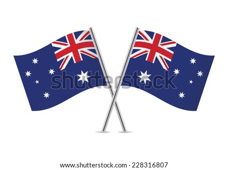 Australian flags. Vector illustration. - stock vector