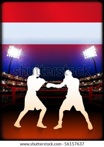 Austria Boxing on Stadium Background Original Illustration - stock vector
