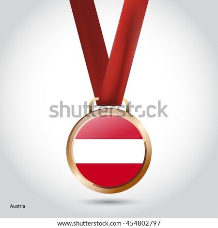 Austria Flag in Bronze Medal. Olympic Game Bronze Medal. Vector Illustration - stock vector