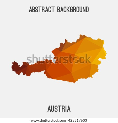 Austria map in geometric polygonal style.Abstract tessellation,modern design background. Vector illustration EPS8 - stock vector