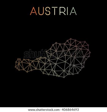 Austria network map. Abstract polygonal Austria network map design. Map of Austria network connections. Vector illustration. - stock vector