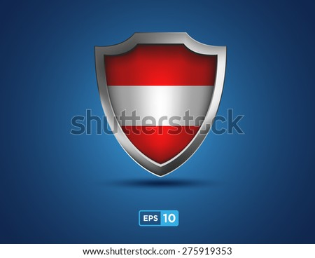 Austria shield on the blue background - stock vector