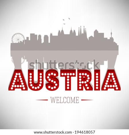 Austria skyline silhouette design, vector illustration. - stock vector