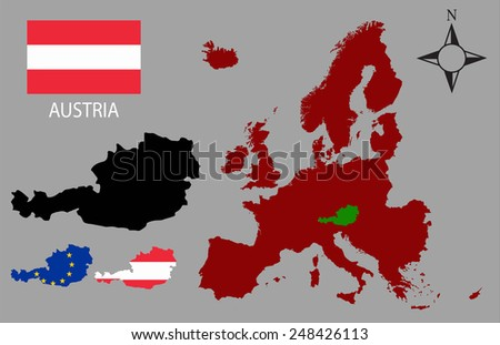 Austria - Three contours, Map of Europe and flag vector - stock vector