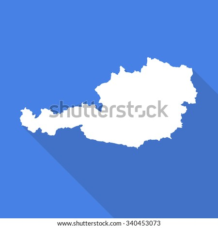 Austria white map,border flat simple style with long shadow on blue background - stock vector