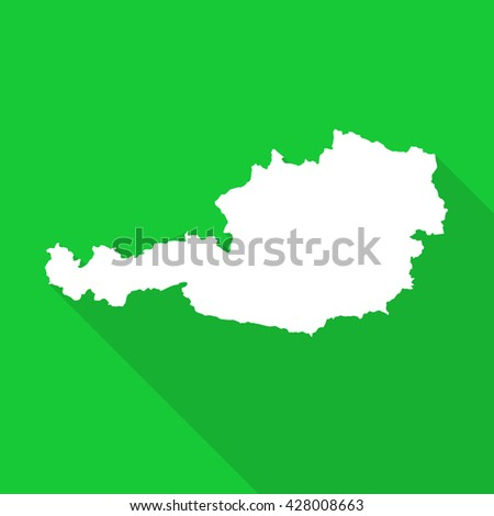 Austria white map,border flat simple style with long shadow on green background - stock vector