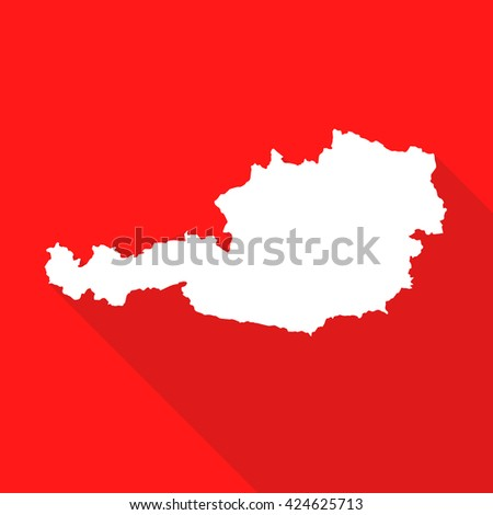 Austria white map,border flat simple style with long shadow on red background - stock vector