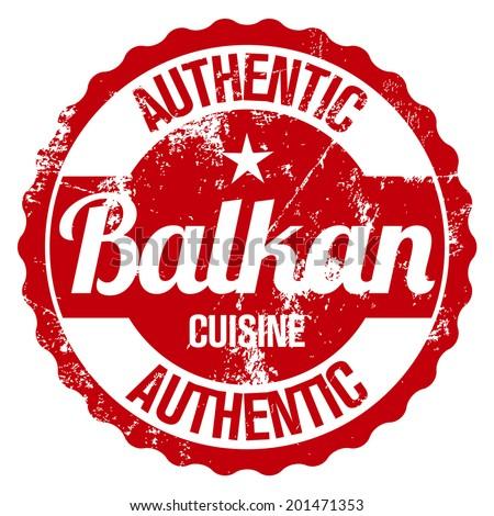 authentic balkan cuisine stamp - stock vector