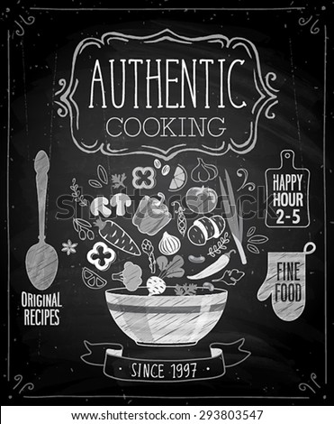 Authentic cooking poster - chalkboard style. Vector illustration. - stock vector