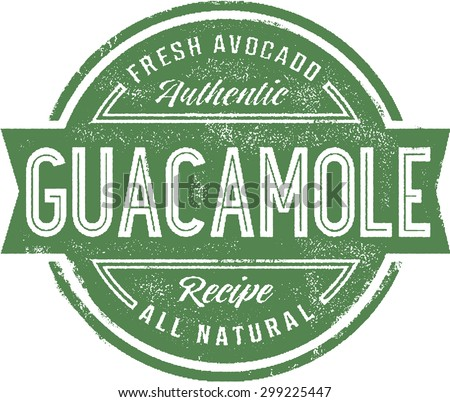 Authentic Guacamole Menu Stamp - stock vector