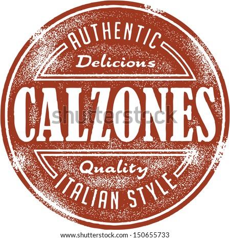 Authentic Italian Calzones Food Stamp - stock vector
