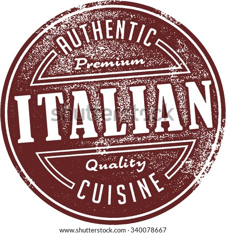 Authentic Italian Restaurant Food Menu Stamp - stock vector