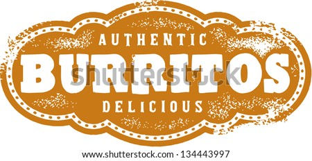 Authentic Mexican Burritos Restaurant Menu Stamp - stock vector