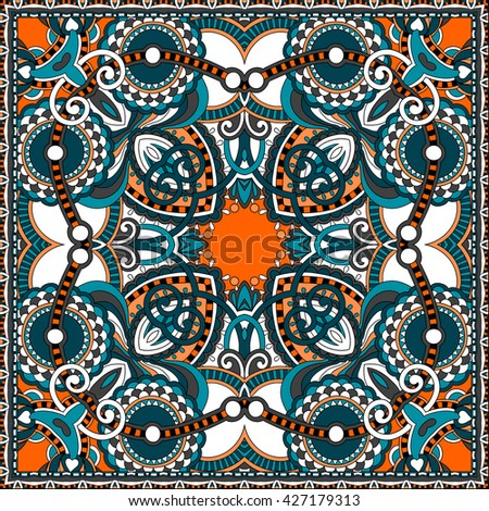 authentic silk neck scarf or kerchief square pattern design in ukrainian style for print on fabric, vector illustration - stock vector