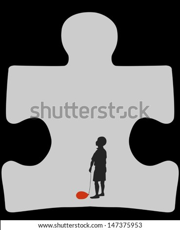 Autism cave. Silhouette of autistic child with a deflated red air balloon, standing in a cave in a shape of a symbol for autism  - stock vector
