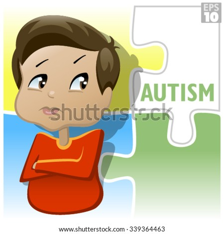 Autism in kids is characterized by impaired communication and interaction behaviors - stock vector