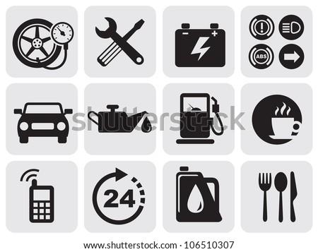auto icons - stock vector