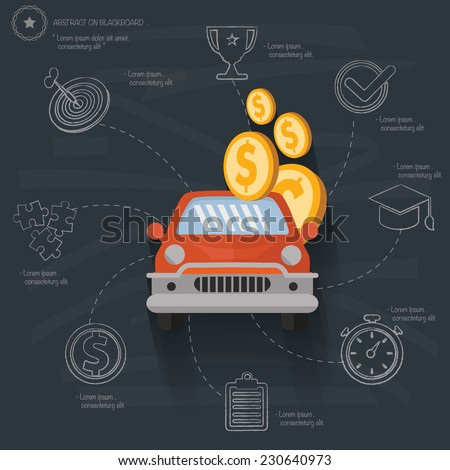 Auto loan concept on blackboard background,vector - stock vector