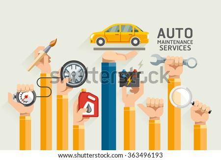 Auto Maintenance Services. Vector Illustrations. - stock vector
