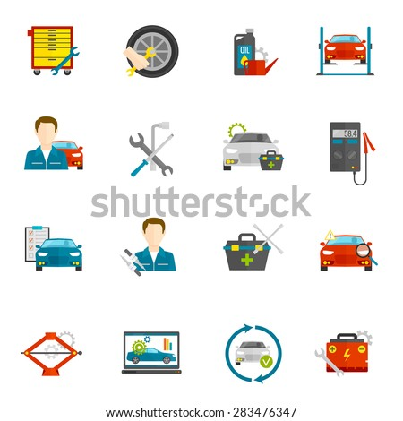 Auto mechanic and car repair flat icons set isolated vector illustration - stock vector