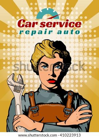 Auto mechanic car repair beautiful woman pop art vector illustration - stock vector