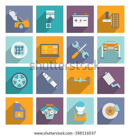 Auto mechanic car service and maintenance icons of engine transmission wheel brake isolated vector illustration. - stock vector