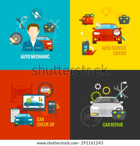 Auto mechanic design concept set with car repair service flat icons isolated vector illustration - stock vector