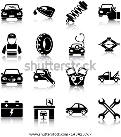 Auto mechanic related icons/ silhouettes. - stock vector
