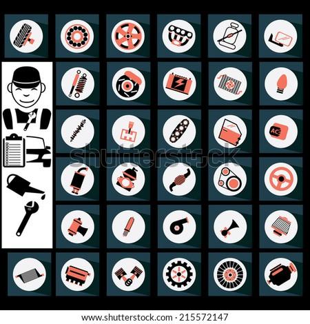 Auto part icons are orange and black - stock vector